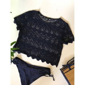 Navy Lace Cropped Top